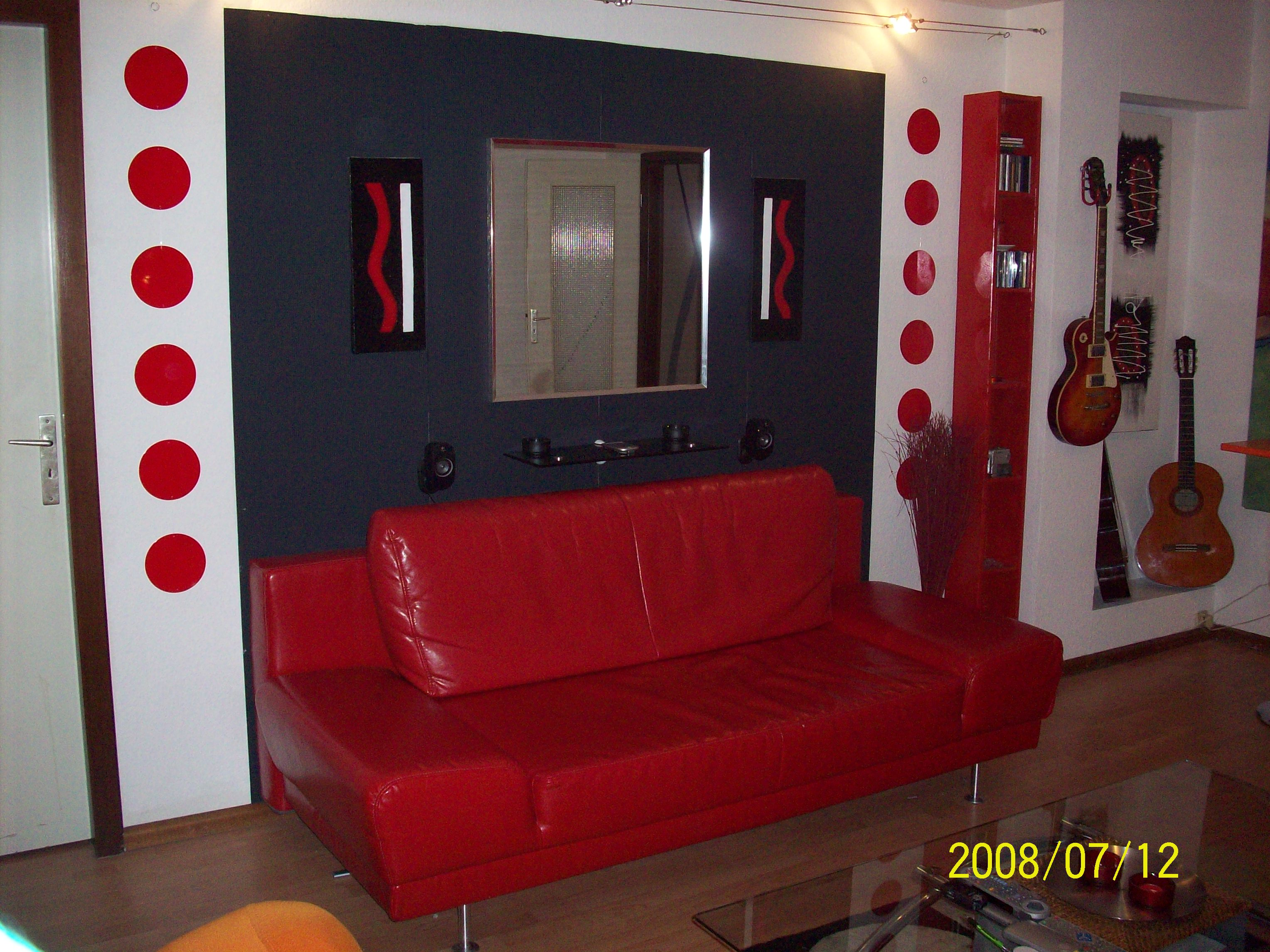 decoration salon moderne noir et rouge  alltag25